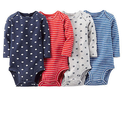 Carter's Baby Boy 4-Pack Bodysuits 3 Months-Football Sports-Long Sleeve Clothes