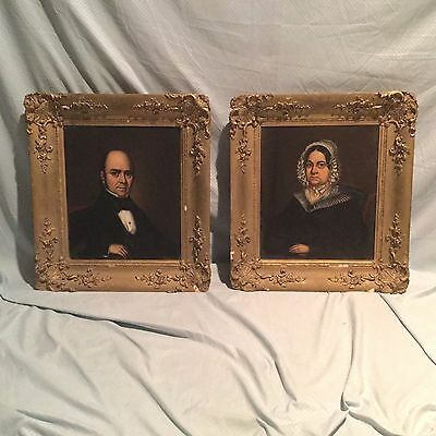 Antique 19th C Husband & Wife Portrait Oil on Canvas Painting of Gentleman Lady