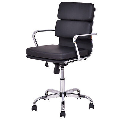 Low Back PU leather Executive Office Chair Computer Desk Task Swivel Black