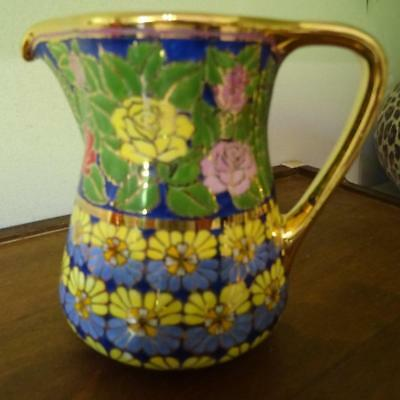 Antique Hand Made and Painted Enamel & Gold decorated Ceramic Jug 10.5cm