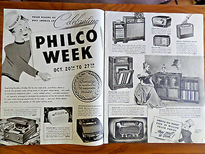1947 Philco Radios Phonograph's Ad Philco Week