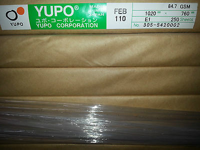 Yupo FEB 110  -   85 GSM (110 micron) Synthetic Paper 10 sheets 510mmx760mm