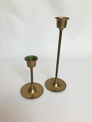 Pair Vintage Silver Plated Brass Candlesticks Leonard Silver Manufacturing Co