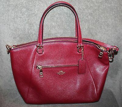 Nice Authentic Coach Prairie Satchel Pebbled Leather Shoulder Bag Purse In Red