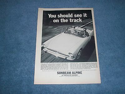 """1964 Sunbeam Alpine Vintage Ad """"You Should See it on the Track"""""""