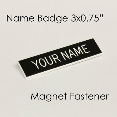 """Name Badge Tag Plate Black/White Magnet 3x3/4"""" Personalised Engraved Customis..."""