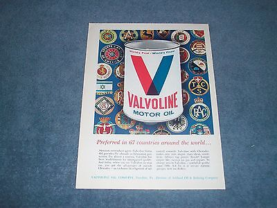"1964 Valvoline Motor Oil Vintage Color Ad ""Preferred in 67 Countries....."""