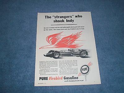 "1963 Pure Firebird Gasoline Indy 500 Lotus Ford Ad ""The Strangers Who Shook Indy"