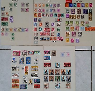 1937-70s Hong Kong lot of 154 KGVI, QE2 Definitive & other stamps Used on 5 pgs