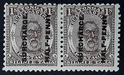 """RARE 1894 Tonga pair of 1 Sh stamps w 1/2d surcharge Mint ERROR """"SURCHARCE"""""""