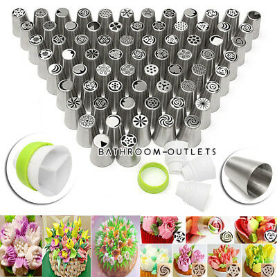 63x Icing Piping Nozzles Petal/Drop Flower/Leaf Icing Nozzle Tips Set Sugarcraft