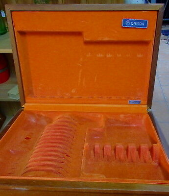 Orange Lined Timber Cutlery Box