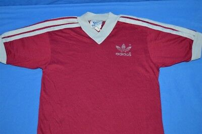 vtg 70s ADIDAS MAROON TREFOIL LOGO RINGER STRIPED V NECK t-shirt YOUTH SMALL YS