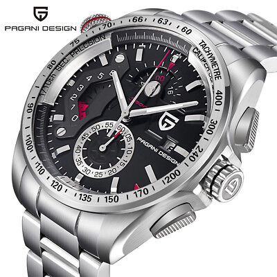 PAGANI DESIGN 30M Water Resistant Stainless Steel Band Men Quartz Wrist Watches