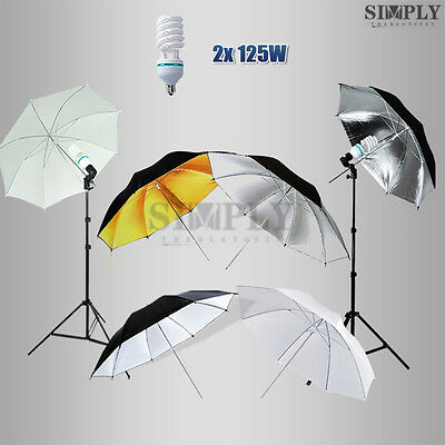 Photography Photo Studio Soft Umbrella White Reflector Lighting Light Stand Kit