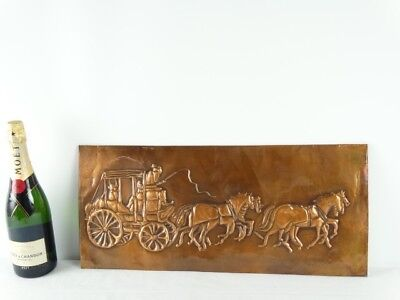 Australian Copper Art Wall Plaque of Colonial Stagecoach Signed by J Halloran