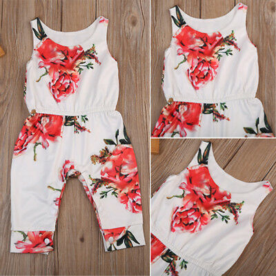 US Stock Infant Girls Sleeveless Romper Jumpsuit Playsuit Outfits Clothes 6-24M