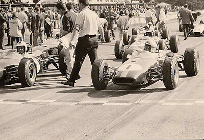 Hulme & Brabham On Front Row At Oulton Park, Gold Cup, F2 1965, Photograph.