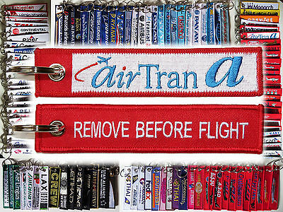 Keyring AIR TRAN Airlines Airline Remove Before Flight tag keychain