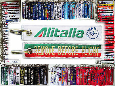 Keyring ALITALIA Italian Airlines Remove Before Flight tag keychain