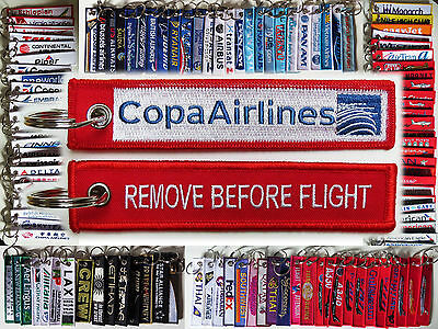 Keyring COPA AIRLINES Remove Before Flight tag keychain