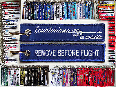Keyring ECUATORIANA AIRLINES de aviacion Remove Before Flight tag keychain