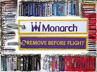 Keyring MONARCH AIRLINES Remove Before Flight tag keychain