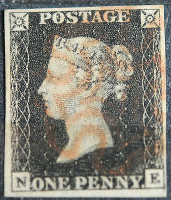 Great Britain Stamps SC#1 VF QV   Penny Black  Plate 7.