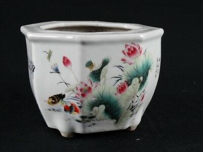 Chinese Famille rose Polychrome Planter with Calligraphy & Lotus Flowers China