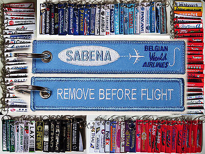 Keyring SABENA Belgian World Airlines Remove Before Flight tag keychain