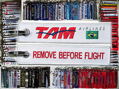 Keyring TAM Brazil Airlines Remove Before Flight tag keychain