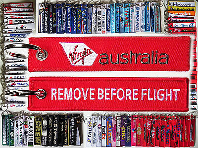 Keyring VIRGIN AUSTRALIA Airlines Remove Before Flight tag keychain