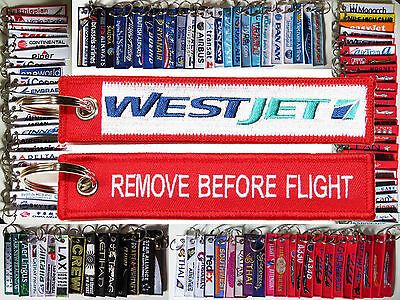 Keyring WESTJET Canada Airlines Remove Before Flight tag keychain