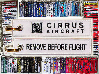 Keyring CIRRUS AIRPLANES WHITE Remove Before Flight tag keychain for pilots