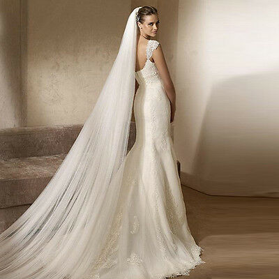 2017 Tulle White Ivory 2T 3M Wedding Bridal Long Veil Cathedral With Comb Solid