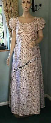 Regency Dress, Jane Austen, Country Flowers Cotton Size 14, Free P&P