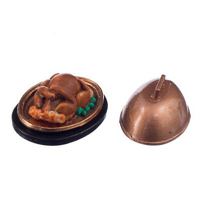 1:12 Dollhouse Miniature Food Christmas Turkey With Lid Q4Q2