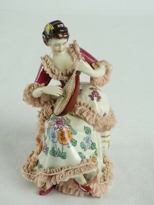 Antique Dresden Porcelain Crinoline Statue woman playing a Lute Germany