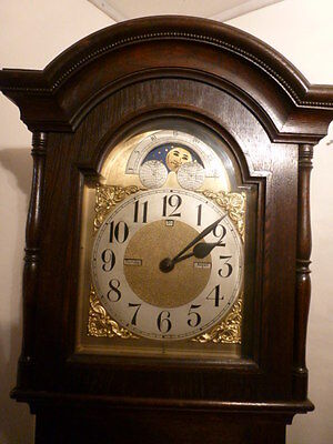 Rare day date month Moon grandmother / father longcase clock