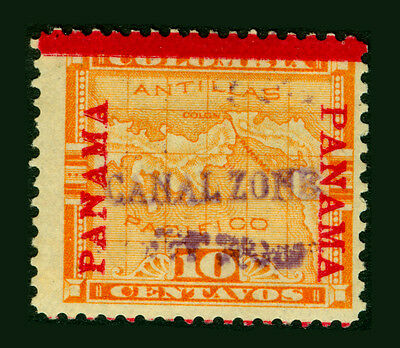 CANAL ZONE (US) 1904 Map of Panama 10c yellow -violet handstamped- Sc# 3 mint MH
