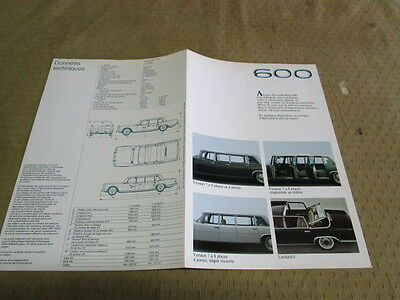 Catalogue Brochure Depliant Mercedes 600 .       Langue Francais