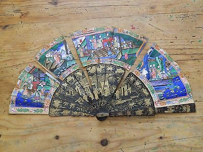 Antique large chinese cantonese 1000 faces fan