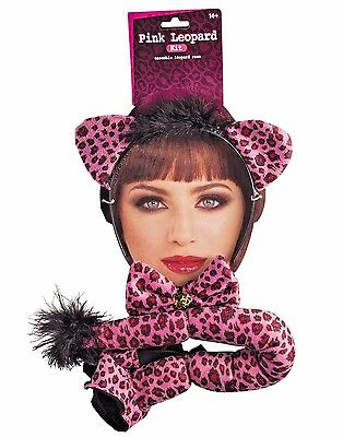 LEOPARD PINK  Headband with Ears, Bow Tie, Tail  Costume Kit
