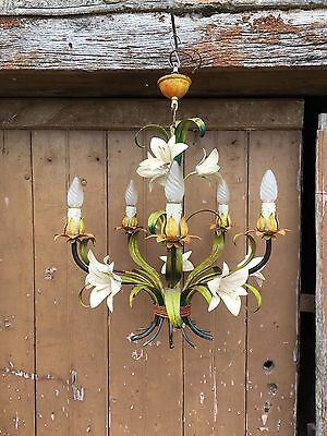French Vintage Antique Painted 5 Arm Toleware Chandelier Bouquet Lilies