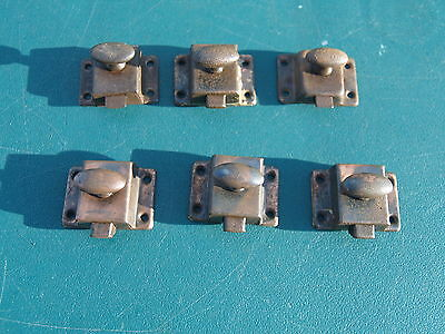 Lot  Of 6 Vintage ** Craftsman Era  ** Cabinet Door Latches, 3 Copper Flashed