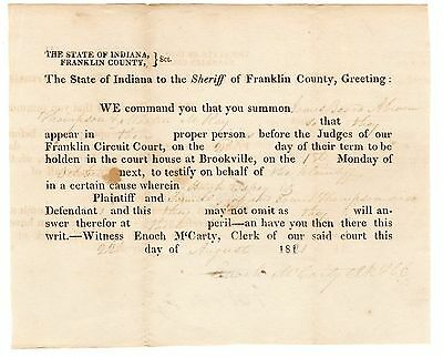 Indiana Presidential Elector Enoch McCarty; 1821 signed document