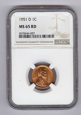 1951 - D Lincoln Cent NGC MS65 RD