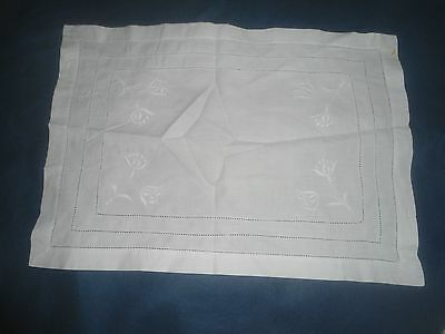 "A Very Pretty White On  White Cotton Embroidered Tray Cloth 18.5"" X 13"""