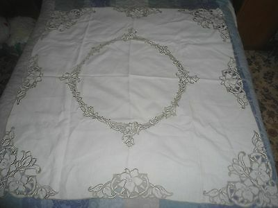 "A Gorgeous Pale Cream Cut Work Embroidered Tablecloth 48"" X 47"""