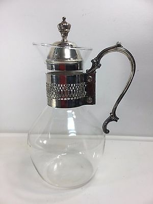 "Vintage Silver Plate Glass Decanter/Pitcher Water/Tea With Handle 11"" TALL"